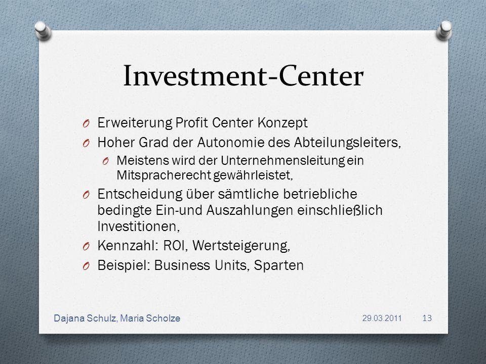 Investment-Center O Erweiterung Profit Center Konzept O Hoher Grad der Autonomie des Abteilungsleiters, O Meistens wird der Unternehmensleitung ein Mi