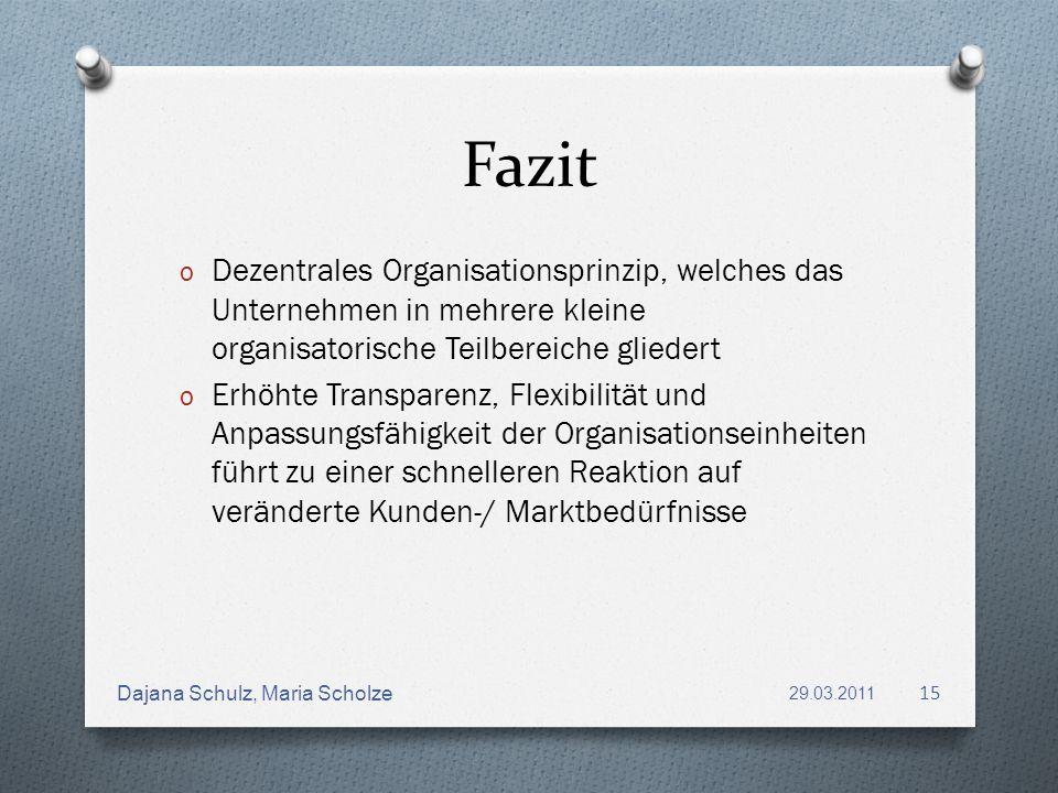 Fazit o Dezentrales Organisationsprinzip, welches das Unternehmen in mehrere kleine organisatorische Teilbereiche gliedert o Erhöhte Transparenz, Flex