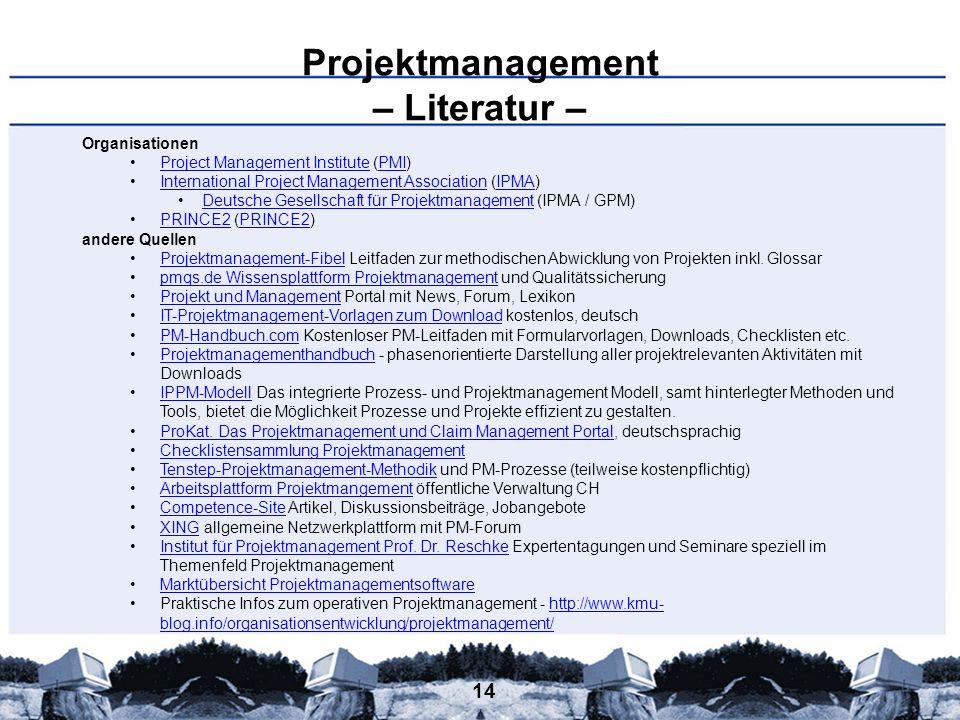 14 Projektmanagement – Literatur – Organisationen Project Management Institute (PMI)Project Management InstitutePMI International Project Management A