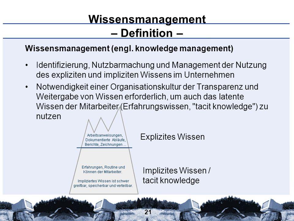 21 Wissensmanagement – Definition – Wissensmanagement (engl. knowledge management) Identifizierung, Nutzbarmachung und Management der Nutzung des expl