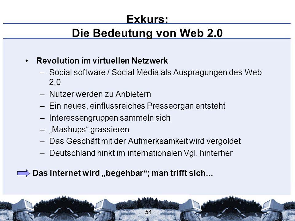 51 Exkurs: Die Bedeutung von Web 2.0 Revolution im virtuellen Netzwerk –Social software / Social Media als Ausprägungen des Web 2.0 –Nutzer werden zu