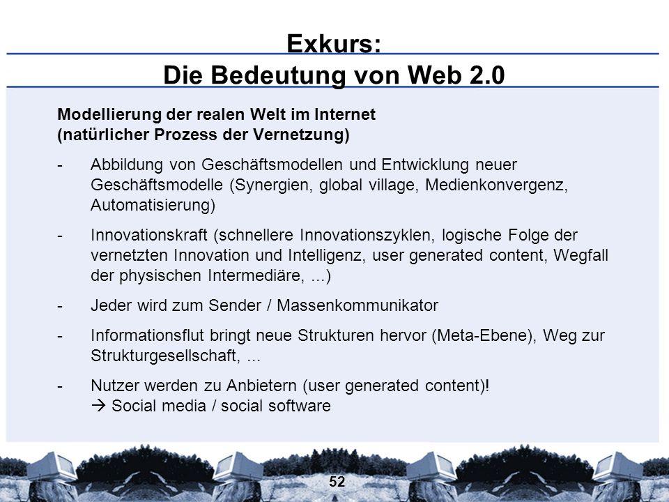 52 Exkurs: Die Bedeutung von Web 2.0 Modellierung der realen Welt im Internet (natürlicher Prozess der Vernetzung) -Abbildung von Geschäftsmodellen un