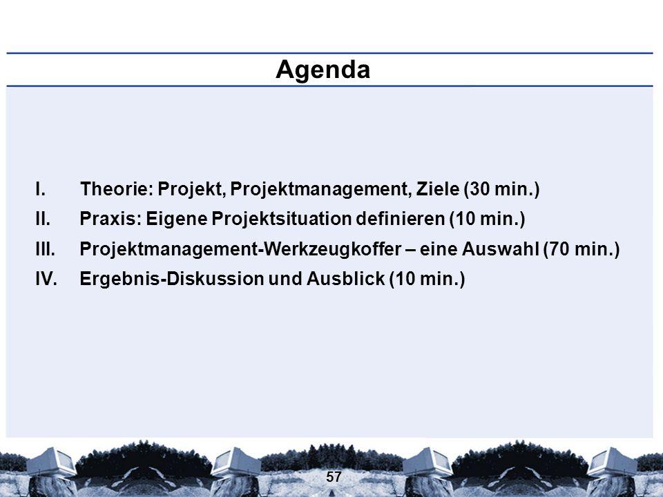 57 Agenda I.Theorie: Projekt, Projektmanagement, Ziele (30 min.) II.Praxis: Eigene Projektsituation definieren (10 min.) III.Projektmanagement-Werkzeu
