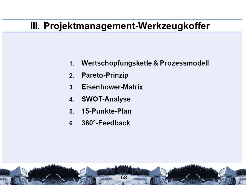 68 III. Projektmanagement-Werkzeugkoffer 1. Wertschöpfungskette & Prozessmodell 2. Pareto-Prinzip 3. Eisenhower-Matrix 4. SWOT-Analyse 5. 15-Punkte-Pl
