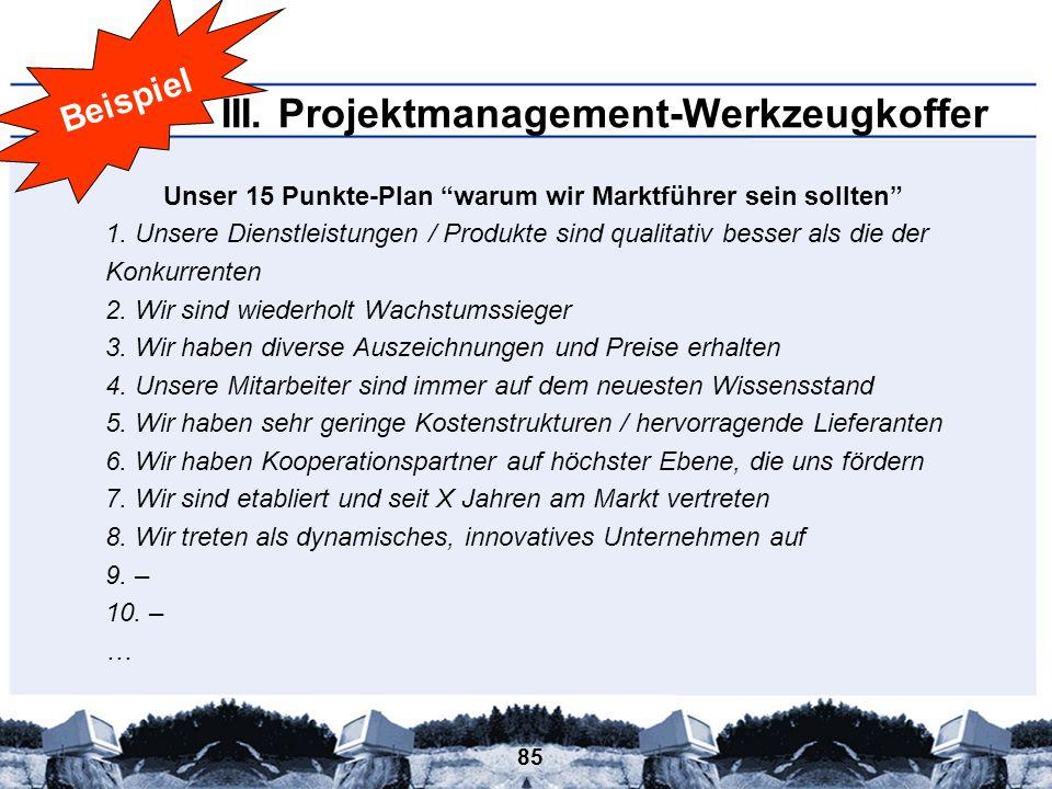 85 III. Projektmanagement-Werkzeugkoffer Beispiel Unser 15 Punkte-Plan warum wir Marktführer sein sollten 1. Unsere Dienstleistungen / Produkte sind q