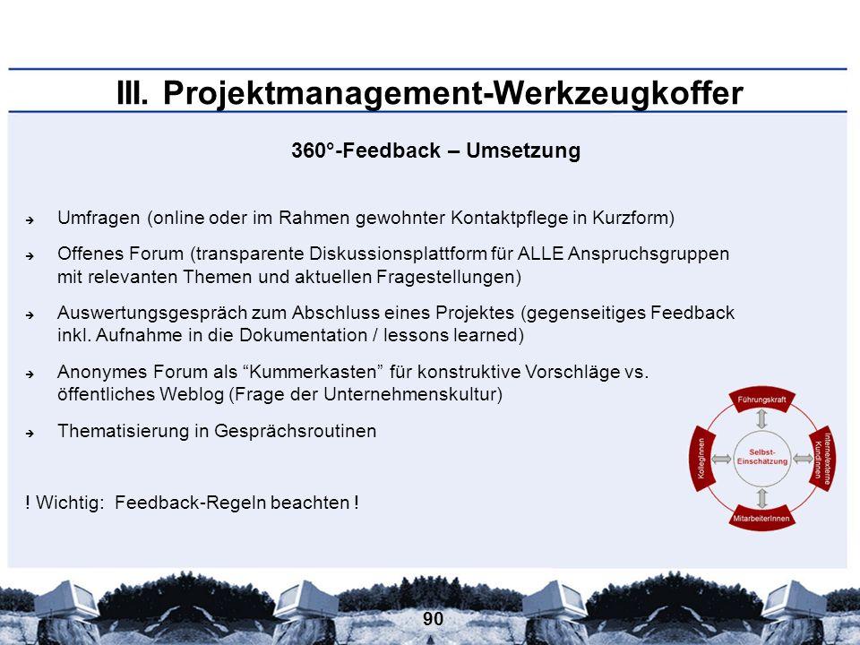 90 III. Projektmanagement-Werkzeugkoffer 360°-Feedback – Umsetzung Umfragen (online oder im Rahmen gewohnter Kontaktpflege in Kurzform) Offenes Forum