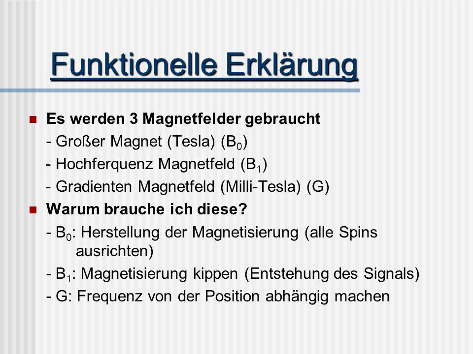 Funktionelle Erklärung Es werden 3 Magnetfelder gebraucht - Großer Magnet (Tesla) (B 0 ) - Hochferquenz Magnetfeld (B 1 ) - Gradienten Magnetfeld (Mil