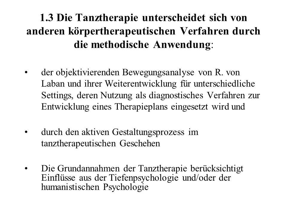 1.3 Die Tanztherapie unterscheidet sich von anderen körpertherapeutischen Verfahren durch die methodische Anwendung: der objektivierenden Bewegungsana