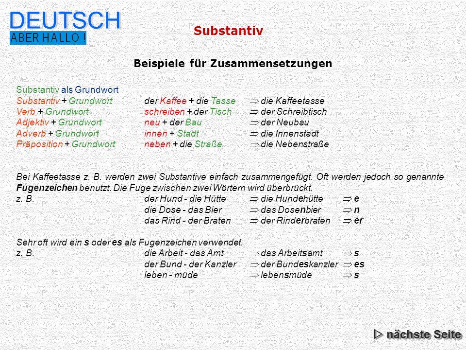 Substantiv DEUTSCH Beachte: Einige Substantive bilden den Genitiv Singular zusätzlich mit einem s z.