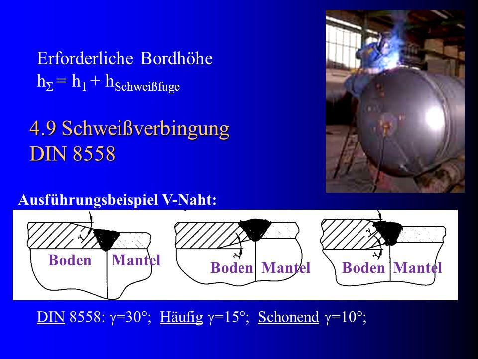 4.9 Schweißverbingung DIN 8558 DIN 8558: =30°; Häufig =15°; Schonend =10°; Boden Mantel Ausführungsbeispiel V-Naht: Erforderliche Bordhöhe h Σ = h 1 +