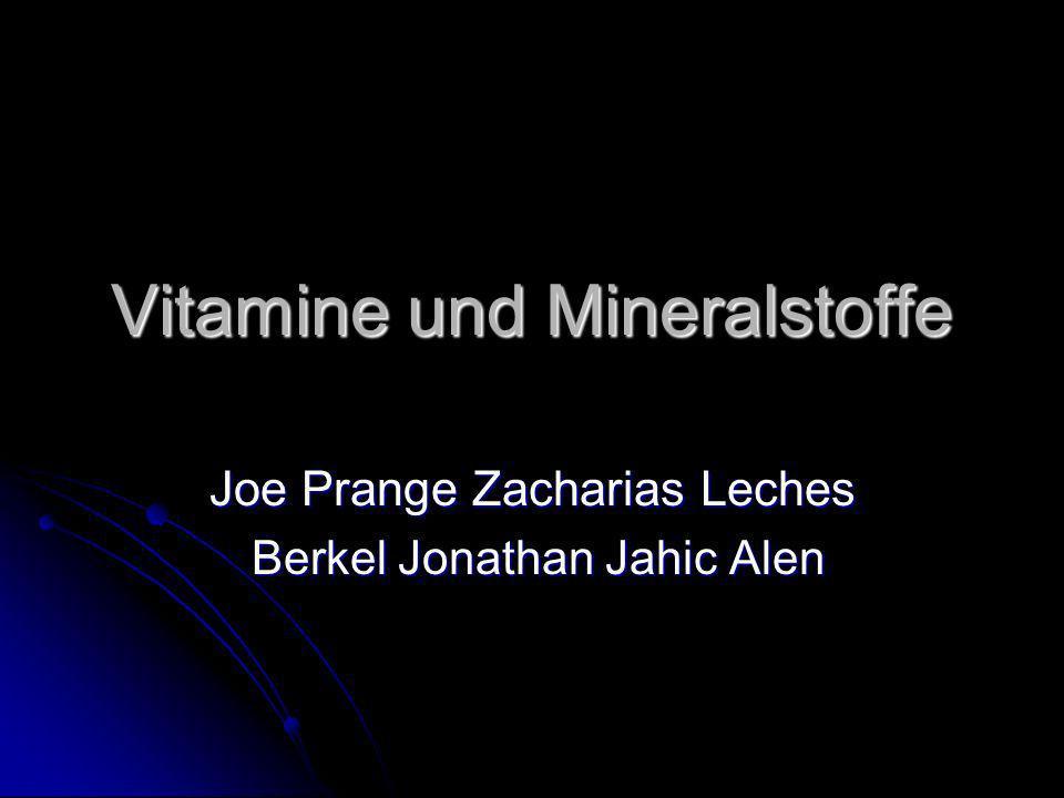 Vitamine und Mineralstoffe Joe Prange Zacharias Leches Berkel Jonathan Jahic Alen Berkel Jonathan Jahic Alen