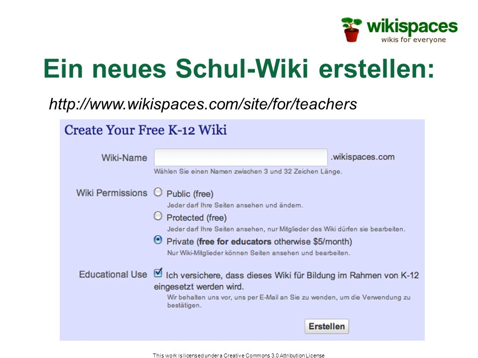 Ein neues Schul-Wiki erstellen: This work is licensed under a Creative Commons 3.0 Attribution License http://www.wikispaces.com/site/for/teachers