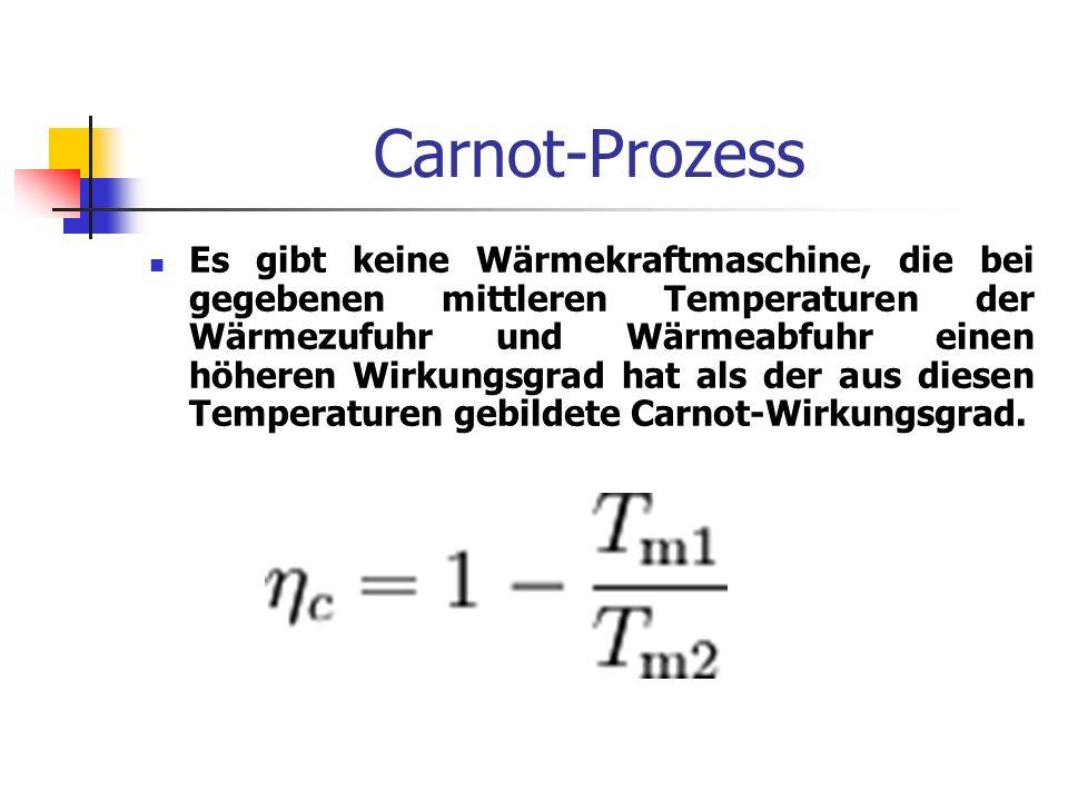 Carnot-Prozess Es gibt keine Wärmekraftmaschine, die bei gegebenen mittleren Temperaturen der Wärmezufuhr und Wärmeabfuhr einen höheren Wirkungsgrad h