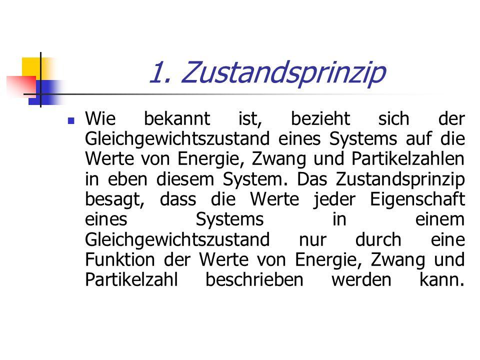 1. Zustandsprinzip Wie bekannt ist, bezieht sich der Gleichgewichtszustand eines Systems auf die Werte von Energie, Zwang und Partikelzahlen in eben d
