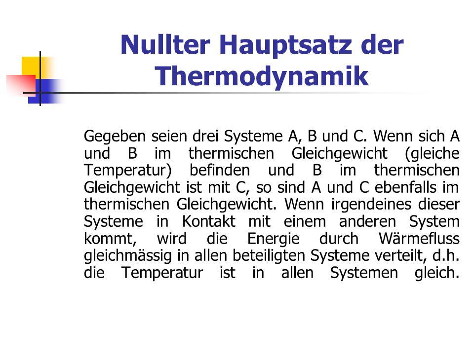 Nullter Hauptsatz der Thermodynamik Gegeben seien drei Systeme A, B und C. Wenn sich A und B im thermischen Gleichgewicht (gleiche Temperatur) befinde