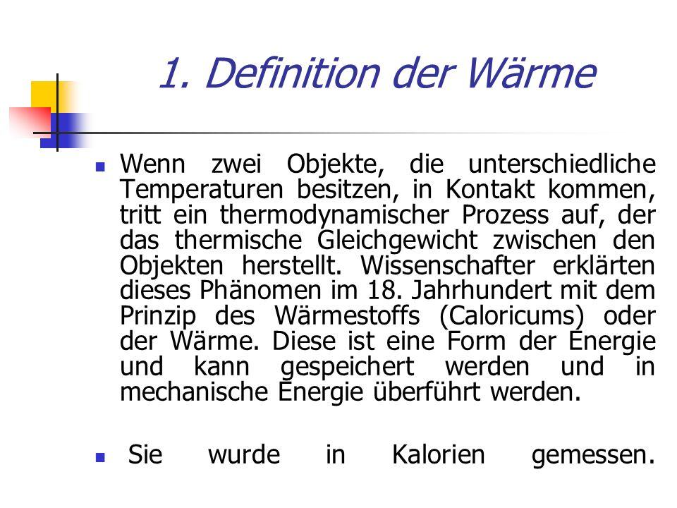 1. Definition der Wärme Wenn zwei Objekte, die unterschiedliche Temperaturen besitzen, in Kontakt kommen, tritt ein thermodynamischer Prozess auf, der