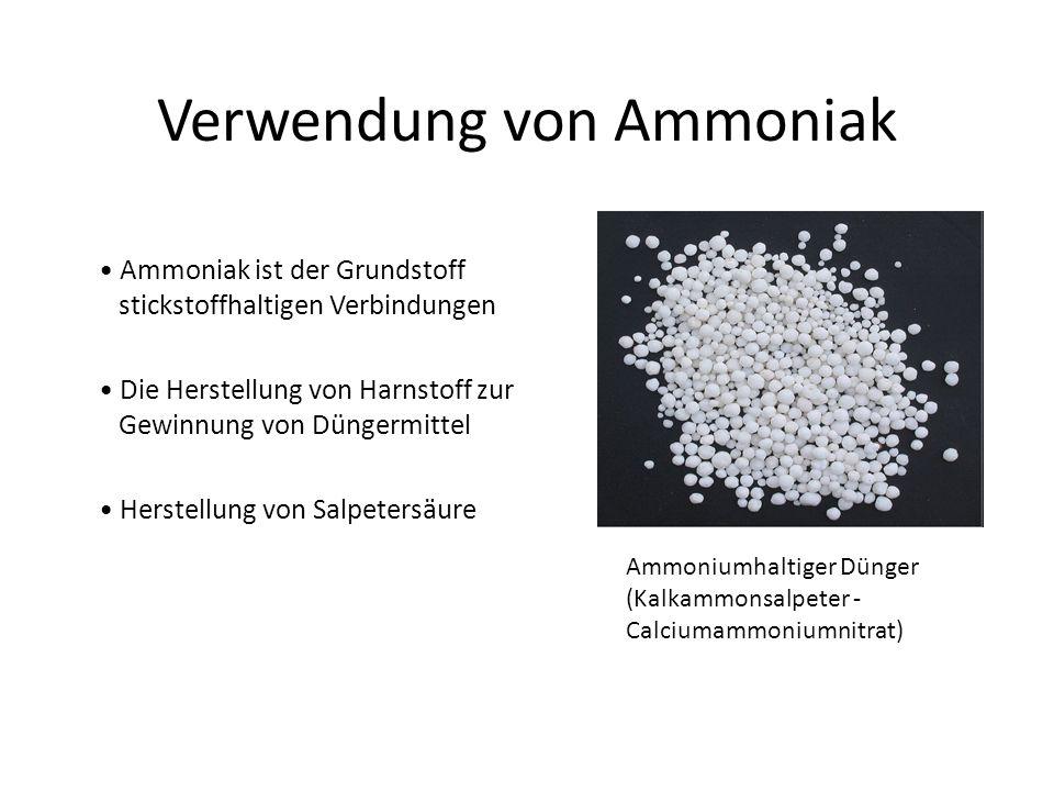 Verwendung von Ammoniak Ammoniak ist der Grundstoff ii stickstoffhaltigen Verbindungen Die Herstellung von Harnstoff zur i Gewinnung von Düngermittel