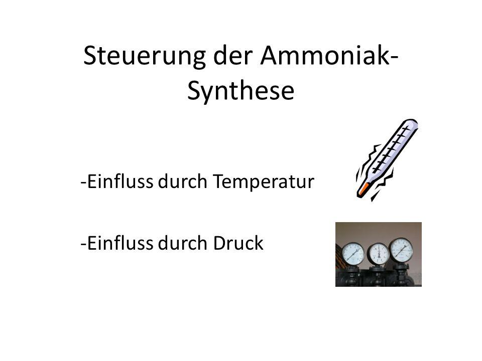 Steuerung der Ammoniak- Synthese -Einfluss durch Temperatur -Einfluss durch Druck
