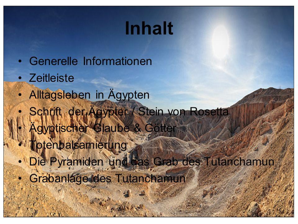 Inhalt Generelle Informationen Zeitleiste Alltagsleben in Ägypten Schrift der Ägypter / Stein von Rosetta Ägyptischer Glaube & Götter Totenbalsamierun