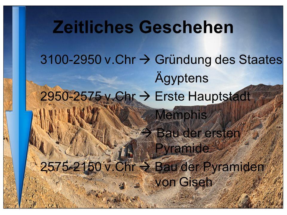 Zeitliches Geschehen 3100-2950 v.Chr Gründung des Staates Ägyptens 2950-2575 v.Chr Erste Hauptstadt Memphis Bau der ersten Pyramide 2575-2150 v.Chr Ba