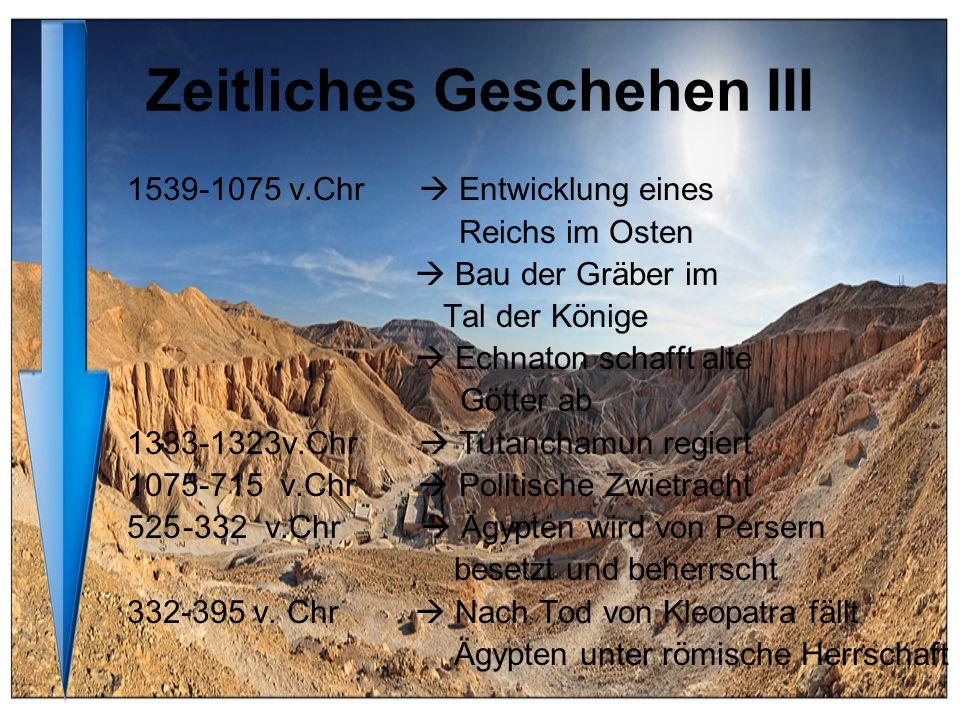 Zeitliches Geschehen III 1539-1075 v.Chr Entwicklung eines Reichs im Osten Bau der Gräber im Tal der Könige Echnaton schafft alte Götter ab 1333-1323v