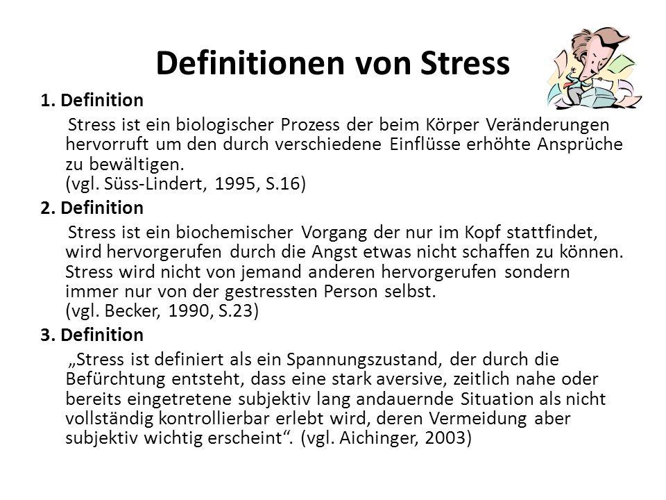 Definitionen von Stress 1. Definition Stress ist ein biologischer Prozess der beim Körper Veränderungen hervorruft um den durch verschiedene Einflüsse