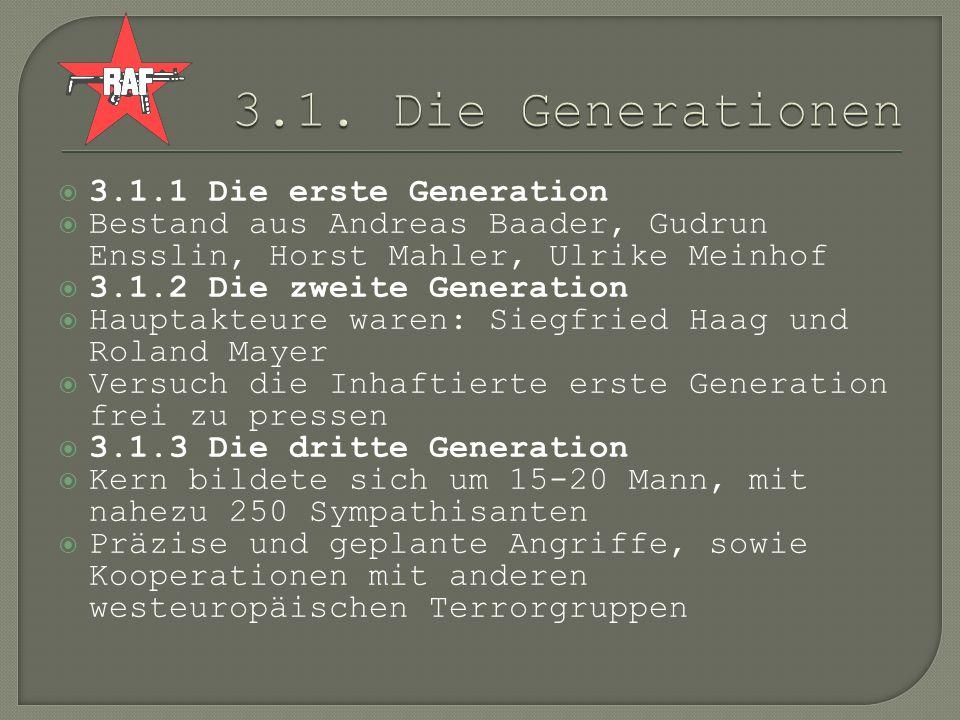 3.1.1 Die erste Generation Bestand aus Andreas Baader, Gudrun Ensslin, Horst Mahler, Ulrike Meinhof 3.1.2 Die zweite Generation Hauptakteure waren: Si