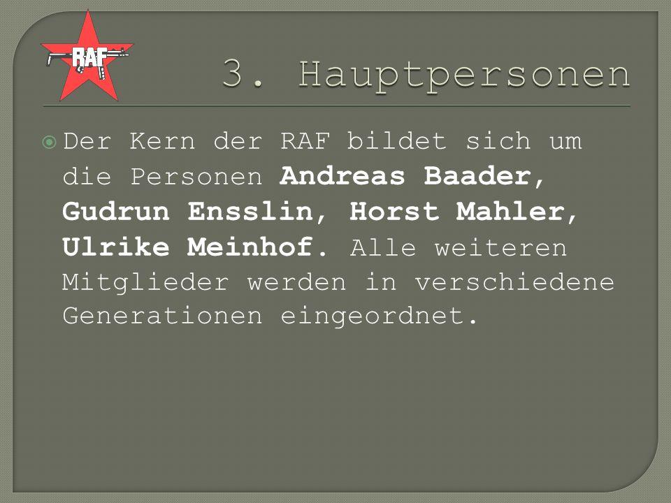 Der Kern der RAF bildet sich um die Personen Andreas Baader, Gudrun Ensslin, Horst Mahler, Ulrike Meinhof. Alle weiteren Mitglieder werden in verschie
