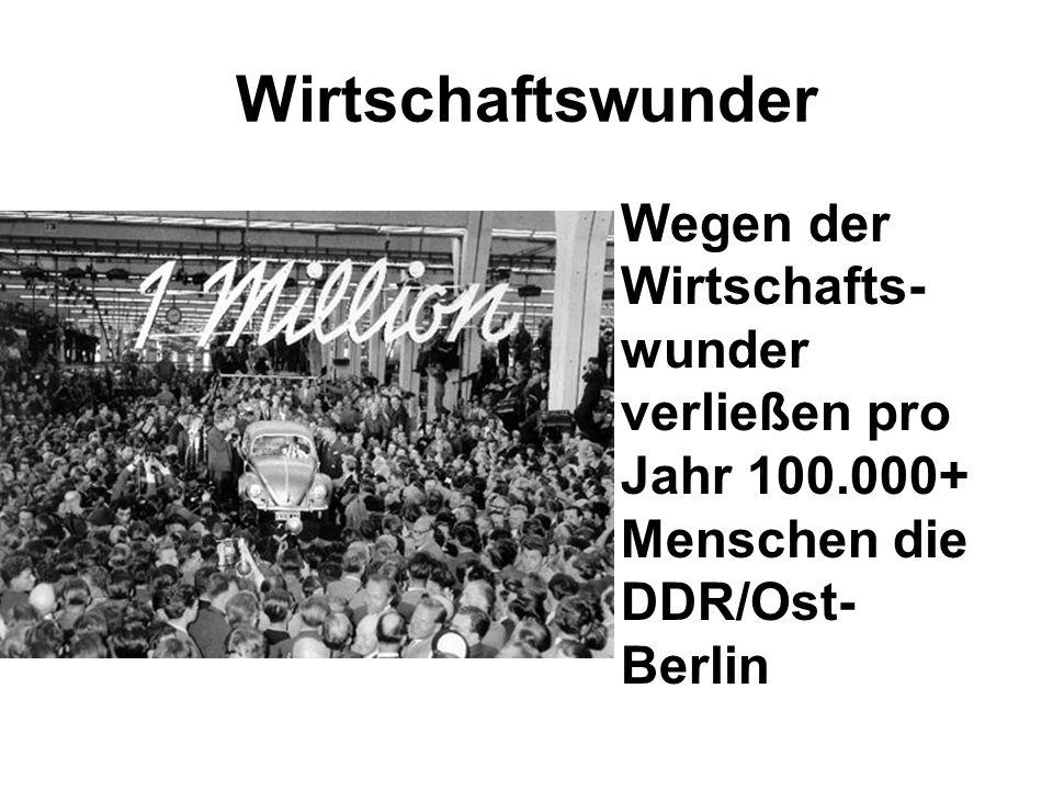 Wirtschaftswunder Wegen der Wirtschafts- wunder verließen pro Jahr 100.000+ Menschen die DDR/Ost- Berlin