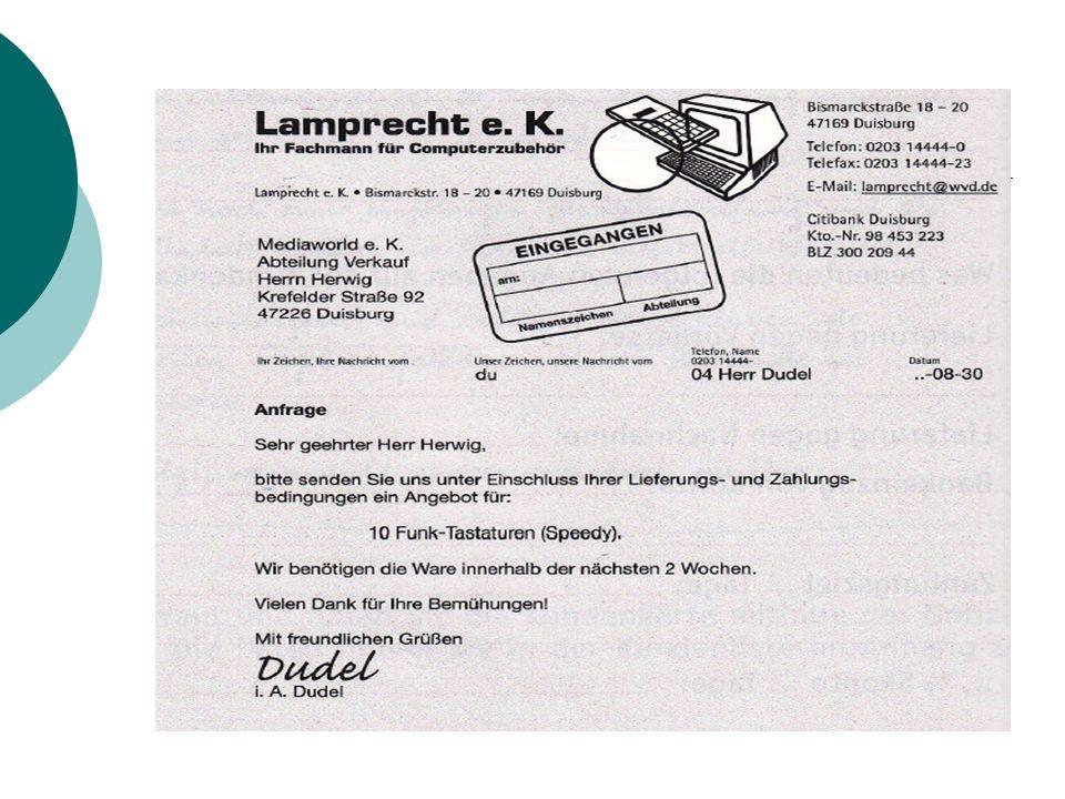 Postausgangsbuch Nachdem Sie das Angebot geschrieben haben, muss der Brief nur noch verschickt werden.