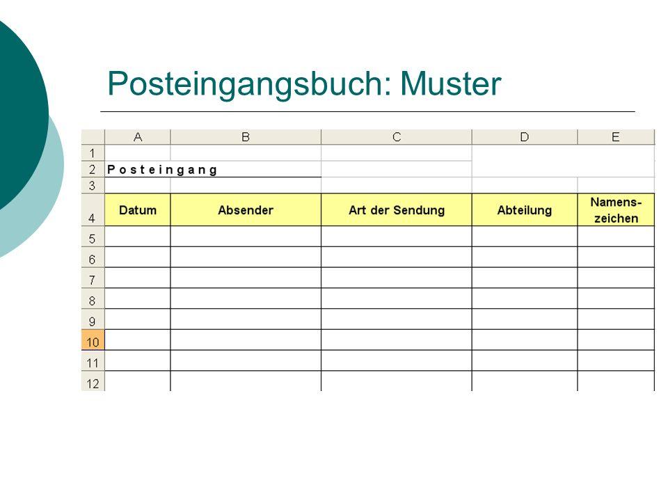 Posteingangsbuch: Lösung