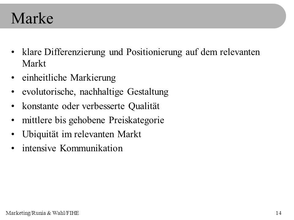 Marketing/Runia & Wahl/FIHE14 Marke klare Differenzierung und Positionierung auf dem relevanten Markt einheitliche Markierung evolutorische, nachhalti