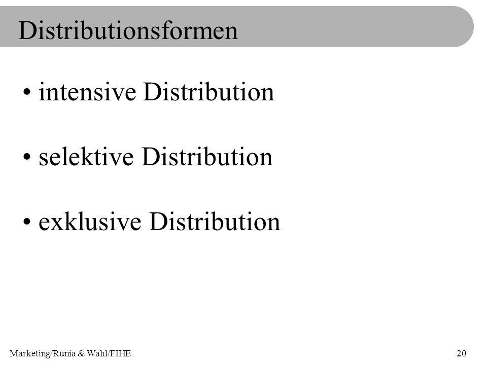 Marketing/Runia & Wahl/FIHE20 Distributionsformen intensive Distribution selektive Distribution exklusive Distribution