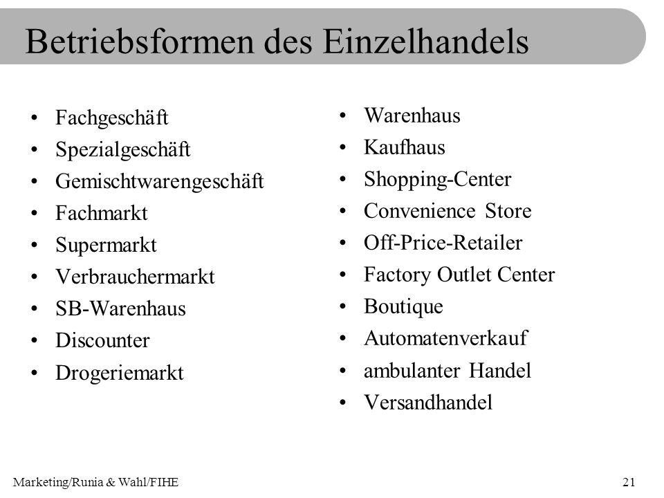 Marketing/Runia & Wahl/FIHE21 Betriebsformen des Einzelhandels Fachgeschäft Spezialgeschäft Gemischtwarengeschäft Fachmarkt Supermarkt Verbrauchermark