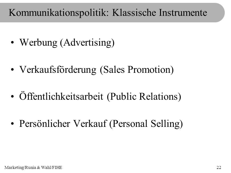 Marketing/Runia & Wahl/FIHE22 Kommunikationspolitik: Klassische Instrumente Werbung (Advertising) Verkaufsförderung (Sales Promotion) Öffentlichkeitsa