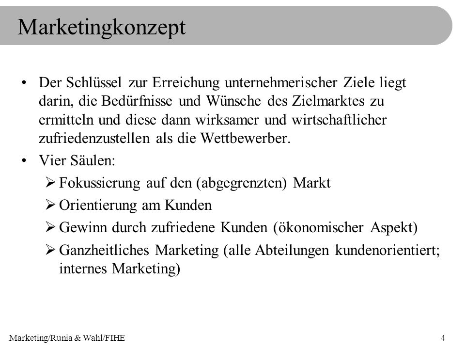 Marketing/Runia & Wahl/FIHE5 Marketingprozess Marketing- analyse Bestimmung von Marketingzielen Ableitung von Marketing- strategien Einsatz von Marketing- instrumenten Marketing- kontrolle