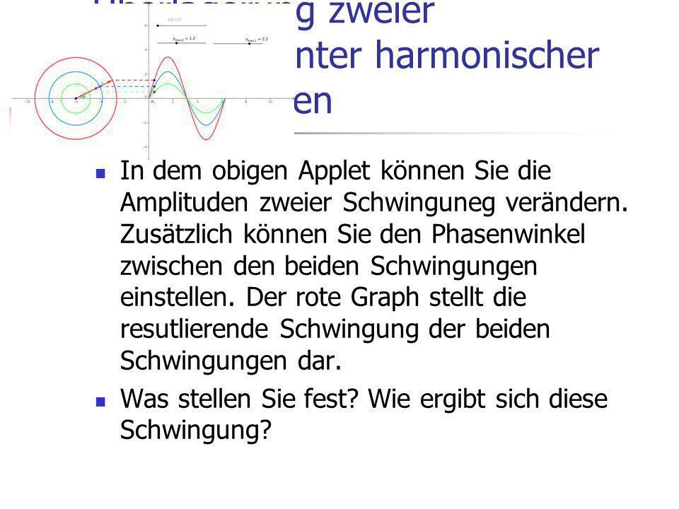 Überlagerung zweier ungleichfrequenter harmonischer Schwingungen In dem letzten Applet hatten Sie bereits die Überlagerung zweier Schwingungen kennengelernt, wobei die beiden Schwingungen die gleiche Frequenz hatten.