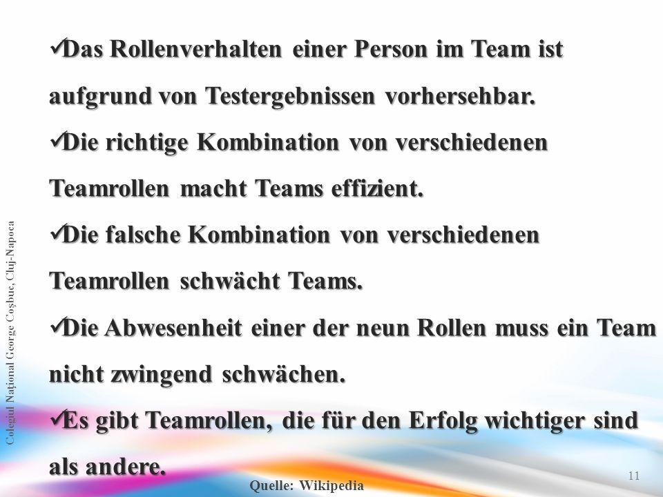 11 Das Rollenverhalten einer Person im Team ist aufgrund von Testergebnissen vorhersehbar. Das Rollenverhalten einer Person im Team ist aufgrund von T