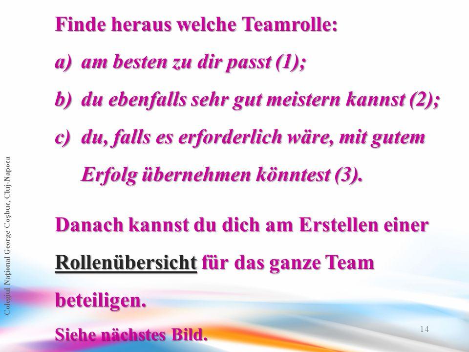 Finde heraus welche Teamrolle: a)am besten zu dir passt (1); b)du ebenfalls sehr gut meistern kannst (2); c)du, falls es erforderlich wäre, mit gutem