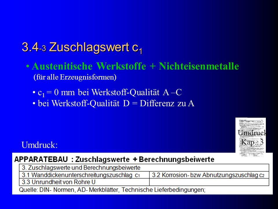3.4 -3 Zuschlagswert c 1 Austenitische Werkstoffe + Nichteisenmetalle (für alle Erzeugnisformen) c 1 = 0 mm bei Werkstoff-Qualität A –C bei Werkstoff-