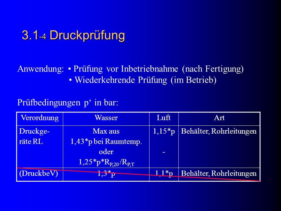 3.1 -4 Druckprüfung Anwendung: Prüfung vor Inbetriebnahme (nach Fertigung) Wiederkehrende Prüfung (im Betrieb) Prüfbedingungen p in bar: VerordnungWasserLuftArt Druckge- räte RL Max aus 1,43*p bei Raumtemp.
