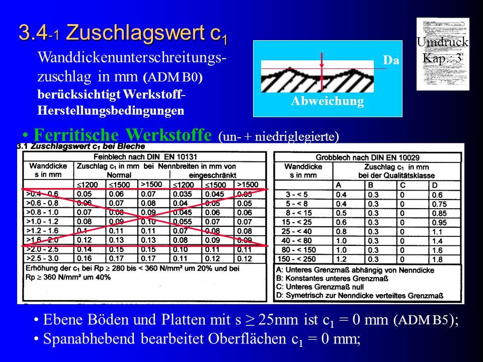 Da Abweichung 3.4 -1 Zuschlagswert c 1 Ferritische Werkstoffe (un- + niedriglegierte) Wanddickenunterschreitungs- zuschlag in mm (ADM B0) berücksichtigt Werkstoff- Herstellungsbedingungen Ebene Böden und Platten mit s 25mm ist c 1 = 0 mm (ADM B5 ); Spanabhebend bearbeitet Oberflächen c 1 = 0 mm; Umdruck Kap.: 3