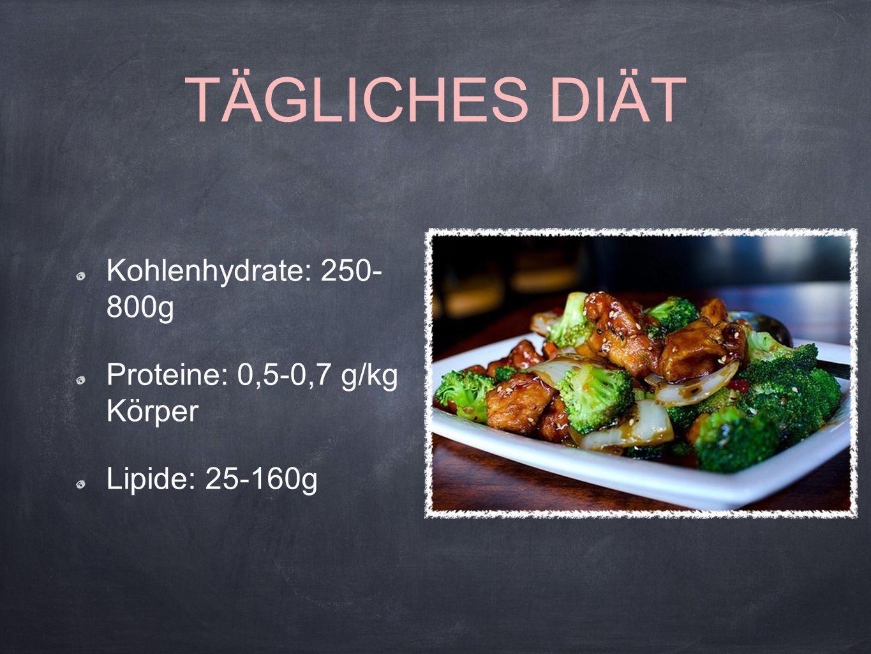 TÄGLICHES DIÄT Kohlenhydrate: 250- 800g Proteine: 0,5-0,7 g/kg Körper Lipide: 25-160g