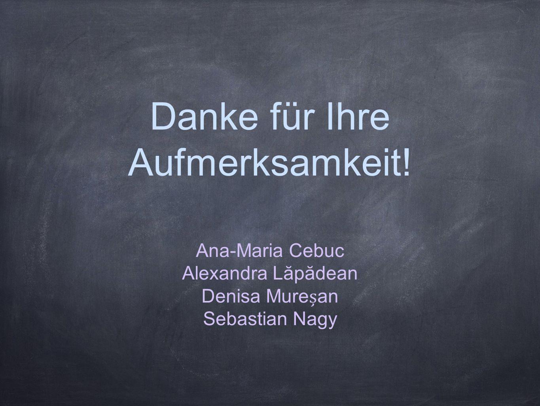 Danke für Ihre Aufmerksamkeit! Ana-Maria Cebuc Alexandra Lăpădean Denisa Murean Sebastian Nagy