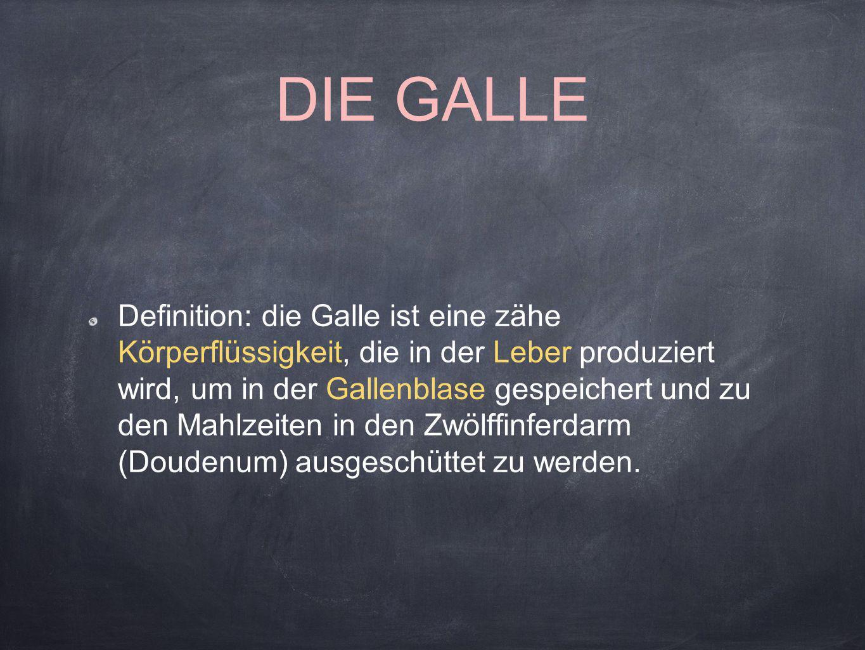 DIE GALLE Definition: die Galle ist eine zähe Körperflüssigkeit, die in der Leber produziert wird, um in der Gallenblase gespeichert und zu den Mahlze