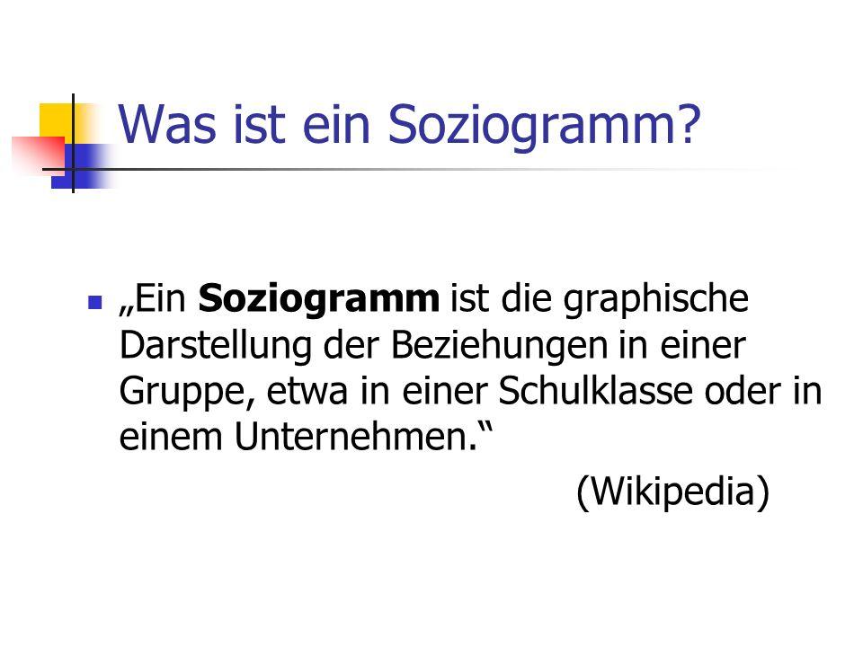 Was ist ein Soziogramm? Ein Soziogramm ist die graphische Darstellung der Beziehungen in einer Gruppe, etwa in einer Schulklasse oder in einem Unterne