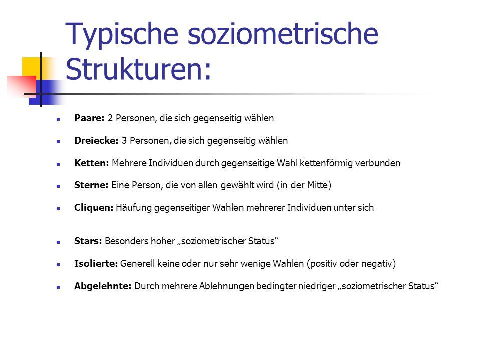 Typische soziometrische Strukturen: Paare: 2 Personen, die sich gegenseitig wählen Dreiecke: 3 Personen, die sich gegenseitig wählen Ketten: Mehrere I
