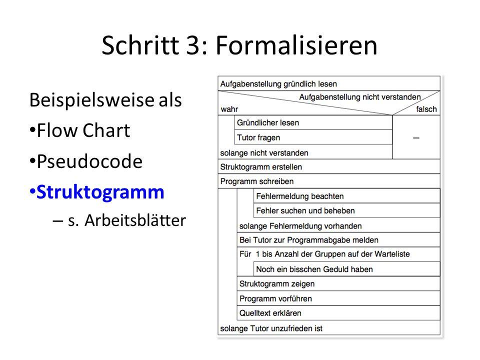 Schritt 3: Formalisieren Beispielsweise als Flow Chart Pseudocode Struktogramm – s. Arbeitsblätter