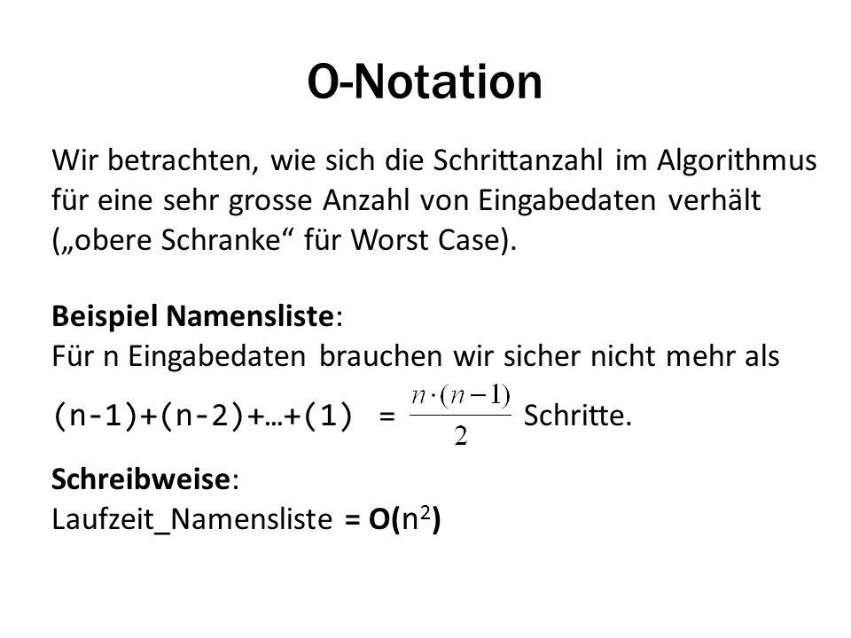 O-Notation Wir betrachten, wie sich die Schrittanzahl im Algorithmus für eine sehr grosse Anzahl von Eingabedaten verhält (obere Schranke für Worst Case).
