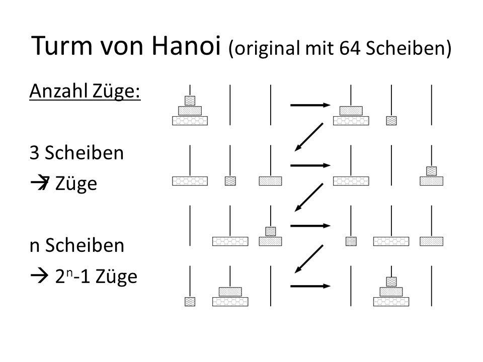 Turm von Hanoi (original mit 64 Scheiben) Anzahl Züge: 3 Scheiben 7 Züge n Scheiben 2 n -1 Züge